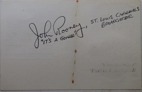 """John Rooney Cardinals Announcer Broadcaster """"It's A Goner"""" Autographed 3x5 Card"""