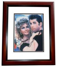 John Travolta and Olivia Newton John Autographed GREASE 8x10 Photo MAHOGANY CUSTOM FRAME