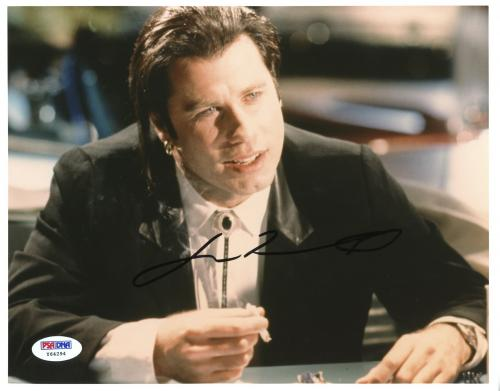 "John Travolta Autographed 8""x 10"" Pulp Fiction Smoking Photograph With Black Ink - PSA/DNA COA"