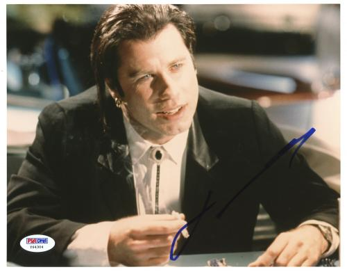 "John Travolta Autographed 8""x 10"" Pulp Fiction Smoking Photograph With Blue Ink - PSA/DNA COA"