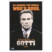 """John Travolta Gotti Autographed 12"""" x 18"""" Movie Poster - Signed in Silver Ink - BAS"""