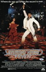John Travolta & Karen Lynn Gorney Signed Saturday Night Fever Poster Psa U04640