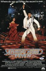John Travolta & Karen Lynn Gorney Signed Saturday Night Fever Poster Psa U04641