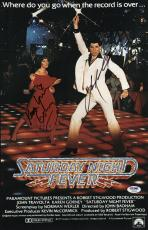 John Travolta & Karen Lynn Gorney Signed Saturday Night Fever Poster Psa U04643