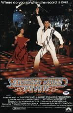 John Travolta & Karen Lynn Gorney Signed Saturday Night Fever Poster Psa U04644