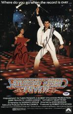 John Travolta & Karen Lynn Gorney Signed Saturday Night Fever Poster Psa U04645