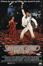 John Travolta & Karen Lynn Gorney Signed Saturday Night Fever Poster Psa U04646