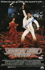 John Travolta & Karen Lynn Gorney Signed Saturday Night Fever Poster Psa U04648