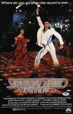 John Travolta & Karen Lynn Gorney Signed Saturday Night Fever Poster Psa U04652