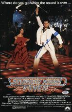John Travolta & Karen Lynn Gorney Signed Saturday Night Fever Poster Psa U04654