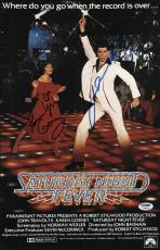 John Travolta & Karen Lynn Gorney Signed Saturday Night Fever Poster Psa U04656