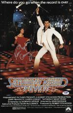 John Travolta & Karen Lynn Gorney Signed Saturday Night Fever Poster Psa U04657