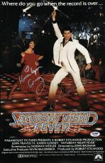 John Travolta & Karen Lynn Gorney Signed Saturday Night Fever Poster Psa U04658