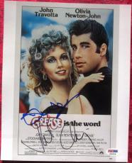 John Travolta Oliva Newton John Channing Grease 3x signed 8x10 photo PSA/DNA