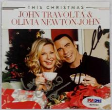 JOHN TRAVOLTA & OLIVIA NEWTON-JOHN Dual Signed This Christmas CD PSA Grease Auto