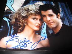 JOHN TRAVOLTA OLIVIA NEWTON JOHN SIGNED AUTOGRAPH 8x10 GREASE PROMO IN PERSON X4