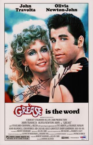 John Travolta & Olivia Newton-john Signed Grease 11x17 Movie Poster Psa V28812
