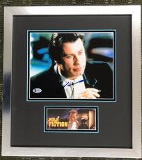 JOHN TRAVOLTA- PULP FICTION signed 8x10 custom framed display Beckett's COA