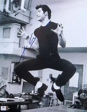 John Travolta  Signed Autographed 11X14 Photo Grease Vintage B/W Singing 801573