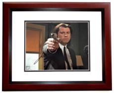 John Travolta Signed - Autographed PULP FICTION - Vincent Vega 8x10 inch Photo MAHOGANY CUSTOM FRAME - Guaranteed to pass PSA or JSA