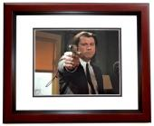 John Travolta Signed - Autographed PULP FICTION - Vincent Vega 8x10 inch Photo MAHOGANY CUSTOM FRAME - Guaranteed to pass PSA or JSA