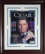 John Travolta Signed Cigar Aficionado Framed Display