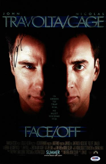 John Travolta Signed Face/off 11x17 Movie Poster Psa Coa V28821