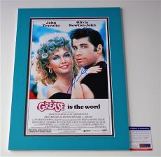 John Travolta Signed Grease 11x17 Movie Poster (double-matted 14x20) Psa V28814