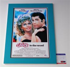 John Travolta Signed Grease 11x17 Movie Poster (double-matted 14x20) Psa V28816