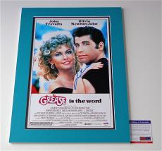 John Travolta Signed Grease 11x17 Movie Poster (double-matted 14x20) Psa V28820