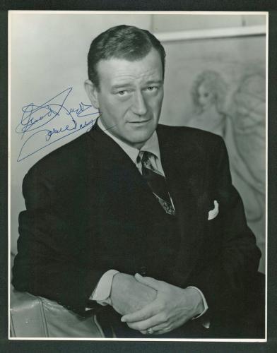 "John Wayne ""Good Luck"" Signed 10.5x13.5 Matte Photo BAS #A03175"