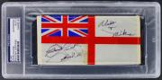 "John Wayne ""Good Luck"" Signed 3x6 Royal Navy Table Flag PSA Slabbed"