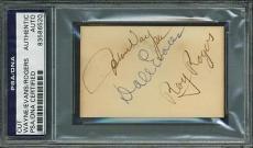 John Wayne, Roy Rogers & Dale Evans Signed 2X3 Cut PSA/DNA Slabbed