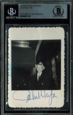 John Wayne Signed 2.5x3.5 Candid Black & White Photo BAS Slabbed