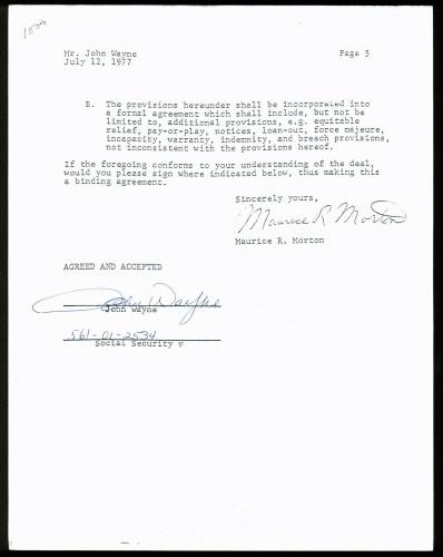 John Wayne Signed 5 Page 1978-79 6 Part ABC TV Specials Contract JSA #Y47133