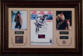 John Wayne True Grit unsigned Movie Poster, Photos, Replica Badge & Swatch of Wayne's Red Scarf Premium Leather Framed 24x35