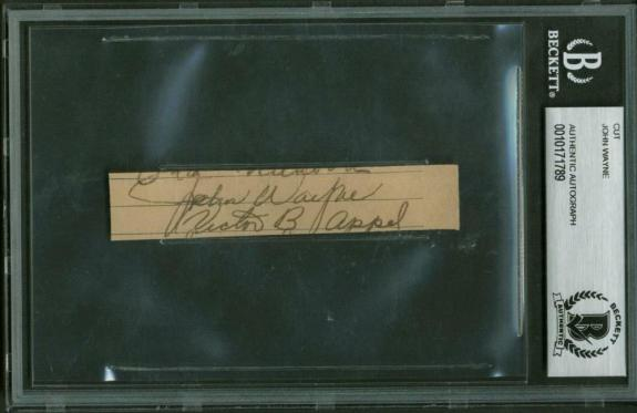 John Wayne Vintage Signed Autographed 1x3 Album page Beckett BAS