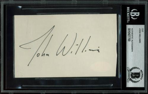 John Williams Star Wars Signed 3x5 Cut Signature BAS Slabbed
