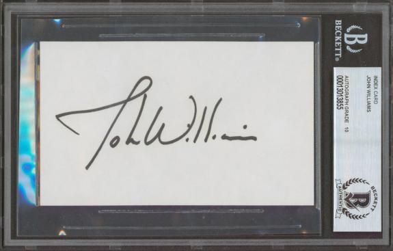 John WIlliams Star Wars Signed 3x5 Index Card Auto Graded Gem 10! BAS Slabbed