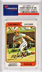 Johnny Bench Cincinnati Reds Autographed 1974 Topps #10 Card with 10 X Gold Glove Inscription
