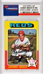 Johnny Bench Cincinnati Reds Autographed 1975 Topps #260 Card with Big Red Machine Inscription