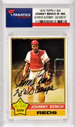 Johnny Bench Cincinnati Reds Autographed 1976 Topps #300 Card with 2 X WS Champs Inscription