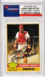 Johnny Bench Cincinnati Reds Autographed 1976 Topps #300 Card with Big Red Machine Inscription