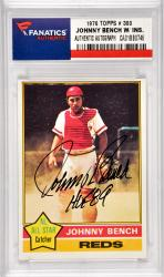 Johnny Bench Cincinnati Reds Autographed 1976 Topps #300 Card with HOF 89 Inscription