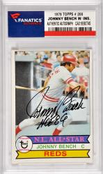 Johnny Bench Cincinnati Reds Autographed 1979 Topps #200 Card with HOF 89 Inscription