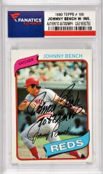 Johnny Bench Cincinnati Reds Autographed 1980 Topps #100 Card with 70 & 72 MVP Inscription