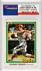 Johnny Bench Cincinnati Reds Autographed 1981 Donruss #182 Card with 2 X WS Champs Inscription
