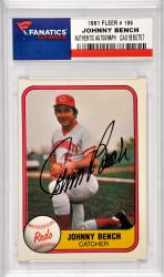 Johnny Bench Cincinnati Reds Autographed 1981 Fleer #196 Card