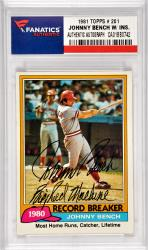 Johnny Bench Cincinnati Reds Autographed 1981 Topps #201 Card with Big Red Machine Inscription