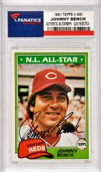 Johnny Bench Cincinnati Reds Autographed 1981 Topps #600 Card